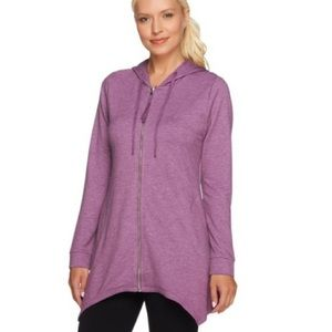 Lori Goldstein   Purple French Terry Zip Jacket
